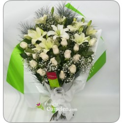 213   Bouquet of 15 roses and liliums