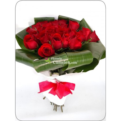 113 | 25 red roses and aspidistras in bouquet