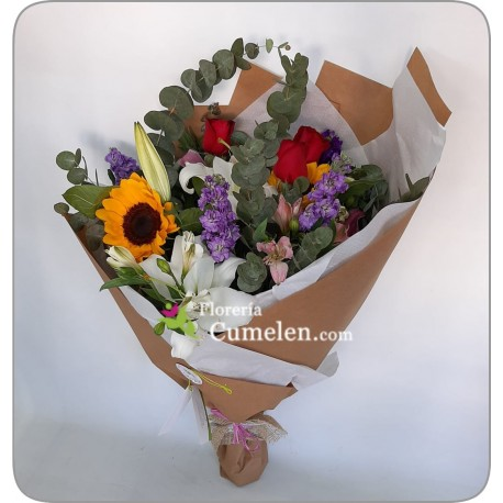 221   Modern bouquet with foliage, lilies, roses, alelies