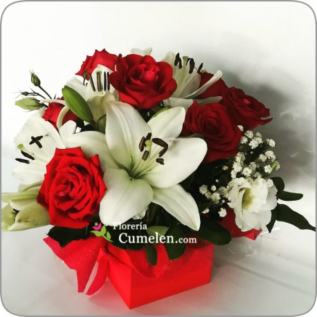 214   Box of Roses and Lilies